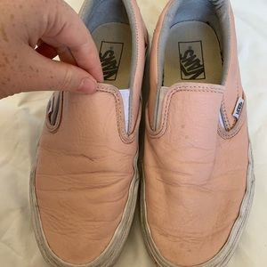 Used Pink Leather Slip On Vans